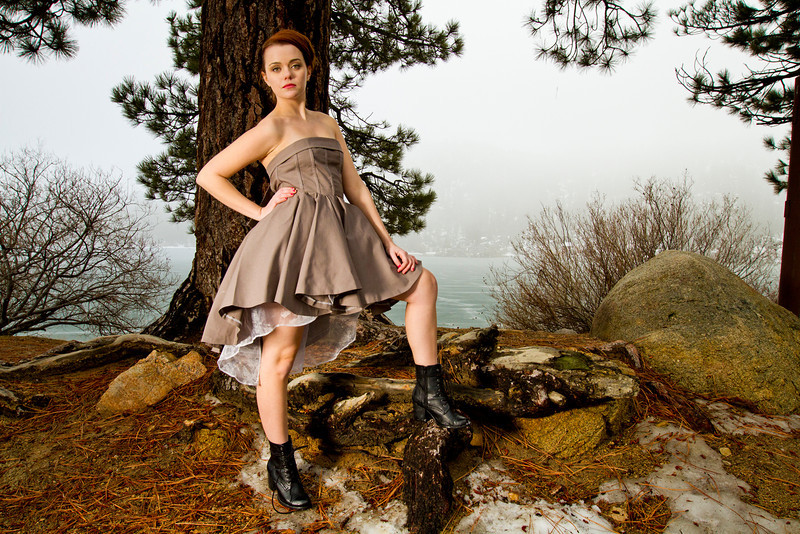 Dress: Elizabeth Lee Designs<br /> Boots: Call It Spring<br /> <br /> Model/MUA: Brittni Alyse Laza<br /> Hair: Taylor Gee<br /> Photographer: JD<br /> Location: Big Bear, CA