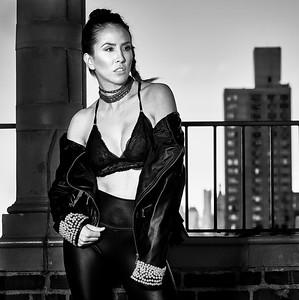 Feb. 19, 2017 - Break Bread Fashion leather jacket shoot Pod 39 rooftop  Model- Karina Flores Hair- Styled by Nini MUA- Cynthia Irizarry Designer- Gabriela Rosado  Photographer- Robert Altman