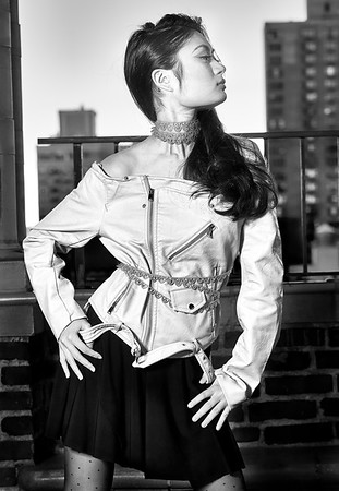 Feb. 19, 2017 - Break Bread Fashion leather jacket shoot Pod 39 rooftop  Model- Raiza Ali Hair- Styled by Nini MUA- Cynthia Irizarry Designer- Gabriela Rosado  Photographer- Robert Altman
