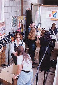 Modeshow in manege in Amsterdam met Marielle, Corien, Marc, Josée, Karin en Jannienke