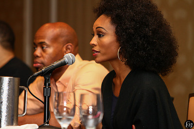 Model, Actress, Businesswoman, Cynthia Bailey and famed photographer Derrick Blanks speaking to young aspiring models during the Cynthia Bailey Model Search - Charlotte. The Cynthia Bailey Model Search - Omni Hotel, Charlotte N.C.