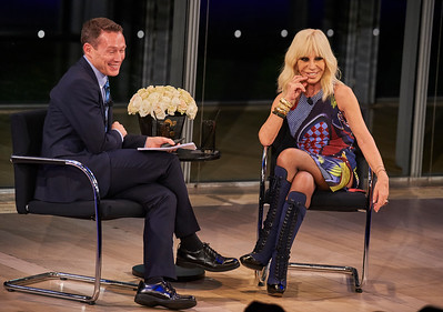 Donatella Versace in conversation with Eric Wilson (of In Style) at the Times Center in Manhattan, New York City, USA - December 7, 2016