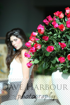 Isabella Bertini as background model for beautiful array of reddish Ecuadorian roses in white vase, suitable for magazine cover.  Model release available.