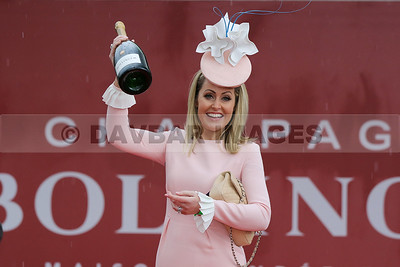 Dr. Jane Mulrooney crowned The Bollinger Best Dressed Lady at the Punchestown Festival (April 2016)