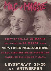 Openingsadvertentie van het filiaal in Antwerpen 1994