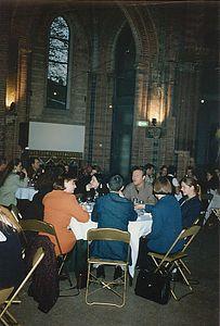 Jaarvergadering in de kerk in het Vondelpark in Amsterdam