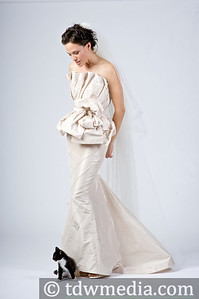 Sherri Siegel in a two piece silk taffeta wedding gown