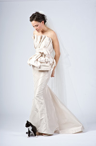 Sherri Siegel in a silk taffeta two piece wedding gown