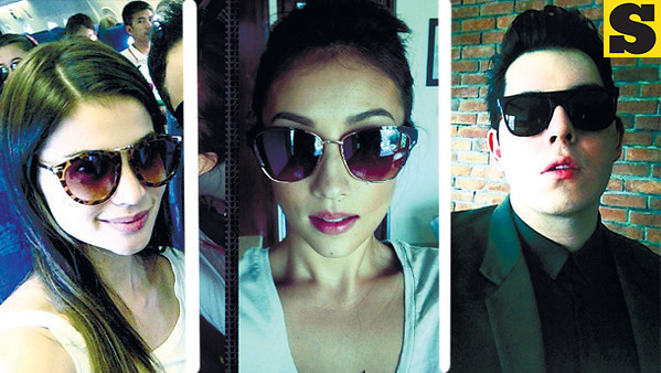 (From left) Anne Curtis wearing the M, Solenn Heussaff wearing the Madison, and Raymond Gutierrez wearing the Johnie.