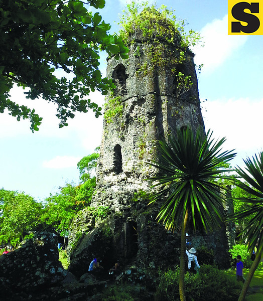CAGSAWA RUINS. What remains of the Franciscan church after Mayon Volcano erupted in 1814, burying the structure in rocks and lava. (Photo by Noel Villaflor of Sun.Star Cebu)