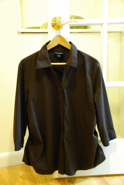 Chocolate Brown Button-down. 3/4 sleeves
