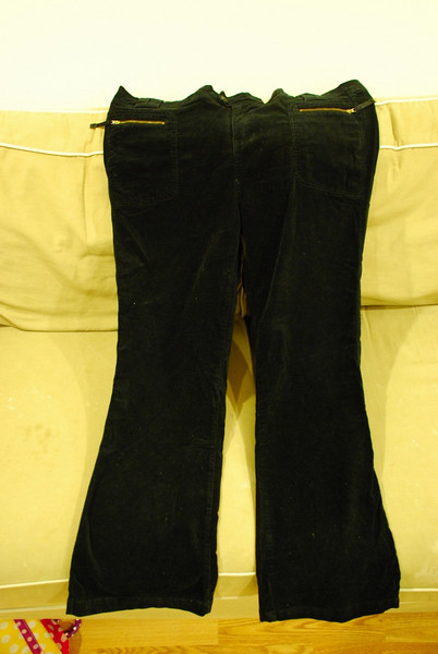 Black velor pants with zippered pockets. No belly panel, but cut for pregnancy.