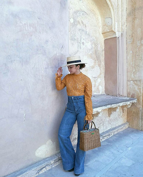 Hat, dresstop and wide-legged denims from H&M, bag from Kate Spade, shoes from Jeffrey Campbell