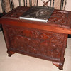 Carved mahogany chest