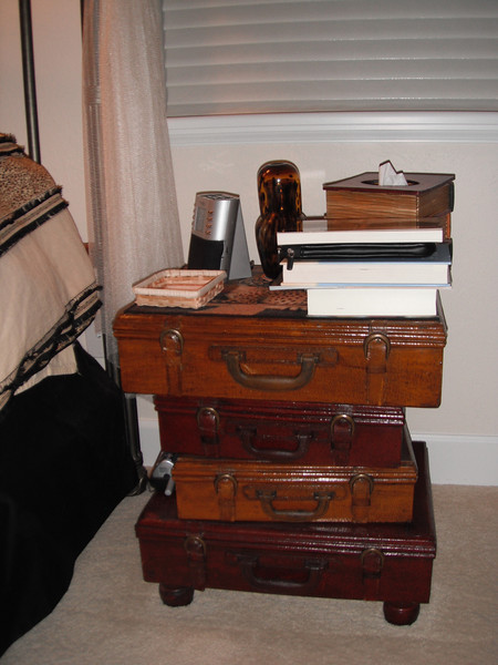 """Suitcase"" nightstand... each ""case"" is a drawer."