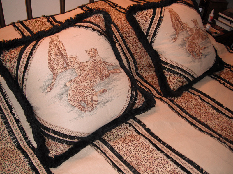 "Detail of ""cheetah"" comforter and pillows (fabric from ""Off the Bolt"")"