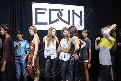 NEW YORK, NY - SEPTEMBER 08:  Models wait backstage at Edun Spring 2013 at Skylight Studios at Moynihan Station on September 8, 2012 in New York City.  (Photo by Chelsea Lauren/Getty Images)