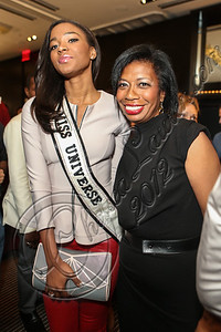 NEW YORK, NY - SEPTEMBER 11:  Miss Universe Leila Lopes (L) and designer Laura Smalls attend the Laura Smalls spring 2013 fashion show during Mercedes-Benz Fashion Week at the Andaz Hotel on September 11, 2012 in New York City.  (Photo by Chelsea Lauren/Getty Images)