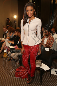 NEW YORK, NY - SEPTEMBER 11:  Miss Universe Leila Lopes attends the Laura Smalls spring 2013 fashion show during Mercedes-Benz Fashion Week at the Andaz Hotel on September 11, 2012 in New York City.  (Photo by Chelsea Lauren/Getty Images)