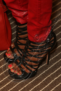 NEW YORK, NY - SEPTEMBER 11:  Miss Universe Leila Lopes (shoe detail) attends the Laura Smalls spring 2013 fashion show during Mercedes-Benz Fashion Week at the Andaz Hotel on September 11, 2012 in New York City.  (Photo by Chelsea Lauren/Getty Images)