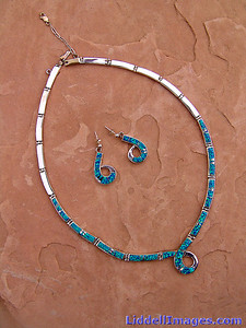 "(21) Sterling silver and opal necklace - 18"" with matching earrings by Calvin Begay."