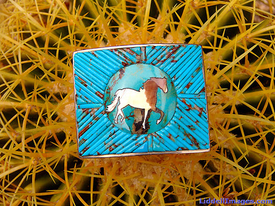 "(11)  Sterling silver, turquoise and golden mother of pearl belt buckle - 2"" x 2.5"""