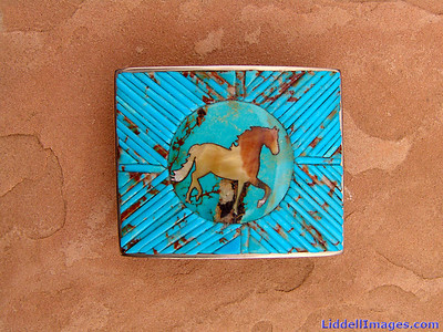 "(10)  Sterling silver, turquoise and golden mother of pearl belt buckle - 2"" x 2.5"""