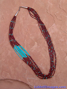 (3) Ten stand turquoise and pipestone heishi necklace - 25""