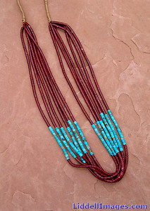 (5) Six strand turquoise and pipestone heishi necklace - 32""