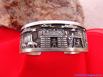 "(16) Three ply storyteller sterling silver bracelet ""The Lost Sheep"" by Navajo Cody Hunter. (Front Side)"