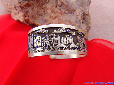"(17) Three ply storyteller sterling silver bracelet ""The Lost Sheep"" by Navajo Cody Hunter. (Right Side)"