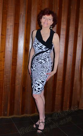 Pat at Dots wall  Tiger dress 120111 1532