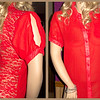 Red Half Chiffon and Half Lace Blouse - Size XL<br /> $15