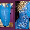 Royal Blue Half Chiffon and Half Lace Blouse - Size XL<br /> $15