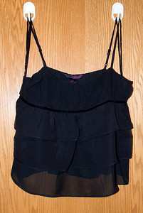 Black Spaghetti Strap Pleated Top  Size S - $15