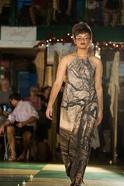 Sepia Shadow Stripes Tree Dress