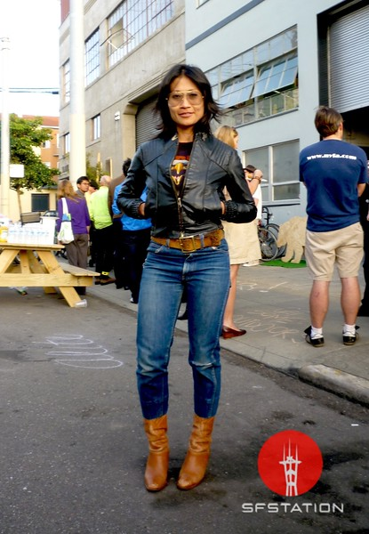 Photo by Lily Ko<br /> <br /> In This Scene: Karany Nhim, menswear designer for Levis, is wearing a mix of vintage at the ALITE Design Studio lauch party. Her jeans are original 606 Levis Orange Tab, cropped, and hit her perfectly at the waist. The jacket and jeans look like they were made for each other.