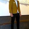 """Photo by Lily Ko<br /> <br /> In This Scene: Chad Winston had his eye out for a mustard blazer after seeing one in """"West Side Story"""". As luck would have it, he found this vintage jacket at Goodwill, and the shoulders fit perfectly. It looks like the sleeves were taken up before Winston snagged it, but he make it work  by pairing them with black ankle pants to create this hip, modern-vintage look."""