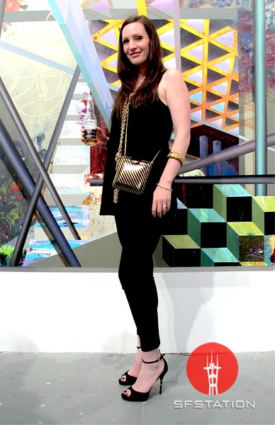 Photo by Lily Ko<br /> <br /> In This Scene:  Kirsten Skipper, of Gucci, working it in black and gold at her husband's latest gallery opening, 941Geary. Skipper is wearing a tunic and pants from Australia, pumps by Gucci, and a mix of vintage and new accessories.