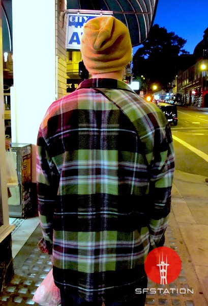 Photo by Lily Ko<br /> <br /> In This Scene:  Raphael Dijk in an Empyre flannel top. I was walking behind Dijk and noticed this diagonal seam! I've never seen a back seam on a shirt like this--clever.