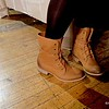 Photo by Lily Ko<br /> <br /> In This Scene:  Van Kim Le's Boutique 9 boots. I love these tan worker-inspired boots. Great sole and nice wrap-around lacing.