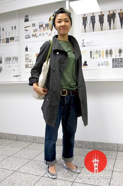Photo by Lily Ko<br /> <br /> In This Scene:  Yuko Okudaira, a fashion design student at the Academy of Art University, pulls off a frumpy-chic outfit with oversized Levi's jeans. Okudaira's top if by Uniqlo, coat from Japan and self-made bag. Her look incorporates hip bagginess with a certain cohesiveness and it works.