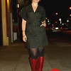 Photo by Lily Ko<br /> <br /> In This Scene: The lovely Meredith Carty, literally wearing her Philly pride. She's wearing a black vintage cut-out dress and vintage cherry leather boots from Philedelphia. Those boots are such an amazing color. If you find a pair of vintage leather boots for a great deal, definitely get them and don't worry about how worn they are. Simply get them refinished--you won't believe how much money you can save and how great the quality is of most vintage shoes.