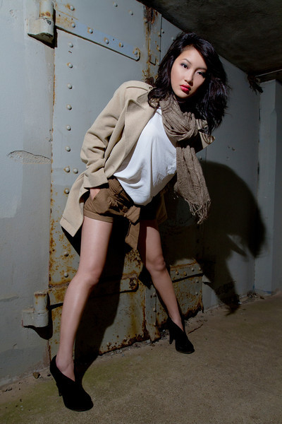 Shirt: Style Tree<br /> Shorts: Forever 21<br /> Scarf: Modena<br /> Pea Coat: Liz Sport<br /> Shoes: Mossimo<br /> <br /> Model: Trisha<br /> Photographer: JD<br /> Location: San Francisco, CA