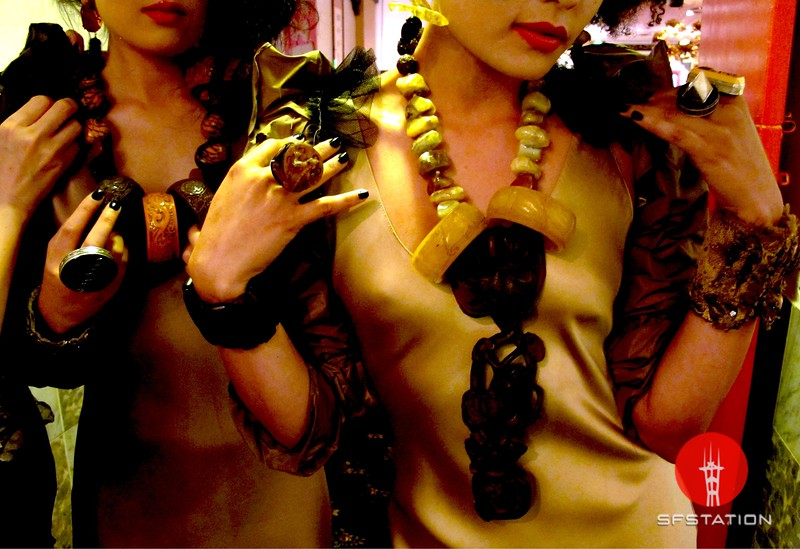 Photo by Lily Ko<br /> <br /> In This Scene:  Ayumi Perry (left) and Faith (right), in Monique Zhang clothing and Sally Bass jewelry. Statement jewelry has never looked so good. I love how Sally Bass uses bangles as pendants on these heavy tribal necklaces. The oversized rings are spectacular as well.