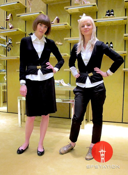 Photo by Lily Ko<br /> <br /> In This Scene:  Shop girls Mary Tator (left) and Ewelina Stevens (right), at the Miu Miu store in Las Vegas. Each employee receive three full outfits per season, to mix and match--jealous! The girls happened to be wearing the same shirt, cardigan and belt, but different bottoms and shoes. The shirts and belt are also worn in different ways to reflect their personal styles--I think they both look fabulous.