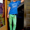 Photo by Lily Ko<br /> <br /> In This Scene:  Brian Kubes in blue and green at Stable Cafe. Kubes, the drummer for local bands Please Do Not Fight and Blood & Sunshine, is wearing an old soccer shirt from his ex-girlfriend's father. Now that's what I call thrifted! His green denim is from H&M and his blue sneakers are Adidas word cup edition. I really love the bright colors and how the outfit works together without looking overly matchy-matchy. I also love how he wears his keys up front--although not  intentional, they are a great accessory!