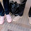 Photo by Lily Ko<br /> <br /> In This Scene:  Sneak attack at SFMOMA! Robert Alford (left) with boyfriend Matt Sussman (right) wearing light pink Converse and grey Generic Surplus sneakers, respectively. I don't think I've ever seen these Cons before--the rubber is even light pink! And these Generic Surplus suede oxfords really get down and dirty with the wingtip details--pinked edges and classic perforation. Love!
