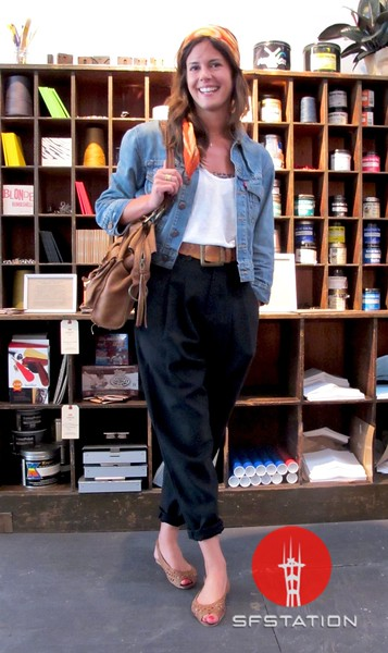 Photo by Lily Ko<br /> <br /> In This Scene:  Dawn De La Fuente in Helmut Lang pants, James Perse tank and light Levi's jean jacket. De La Fuente is accessorized with a vintage scarf, Roots bag and shoes from Urban Outfitters. I like the laid back, summery feel of this whole look--it's very Southern California, in the best way.