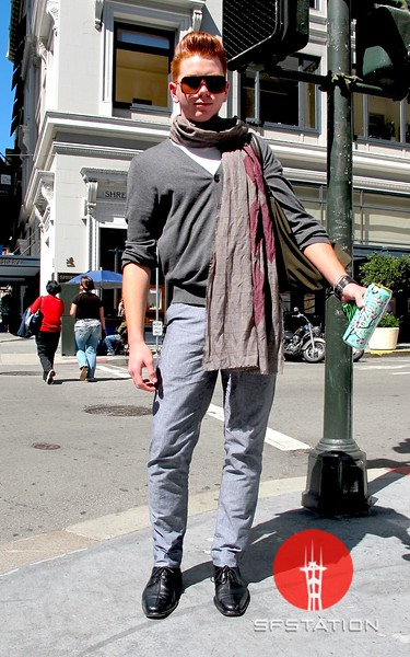 Photo by Lily Ko<br /> <br /> In This Scene:  Kela Hugo spotted on the corner of Grant and Post. Hugo is wearing pants by American Apparel, cardigan and scarf by Banana Republic and shoes by Cole Haan. Cole Haan continues to be my favorite mens footwear designer. The pants have an interesting cut--Hugo makes the most of it a shorter cardigan and elongating shoes.